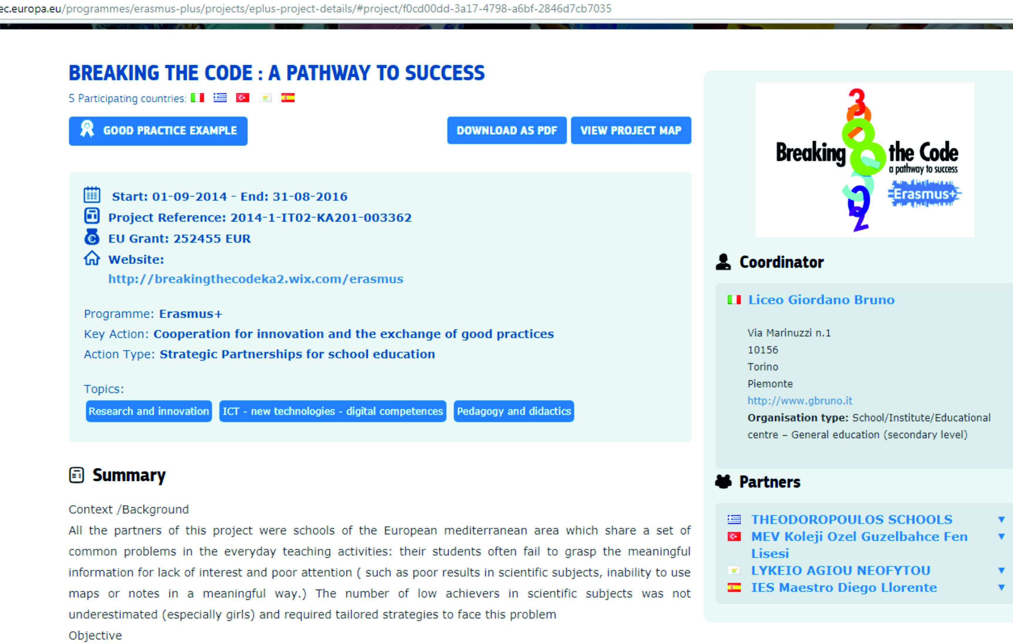 Erasmus + Projemiz En İyi Örnekler Sayfasında