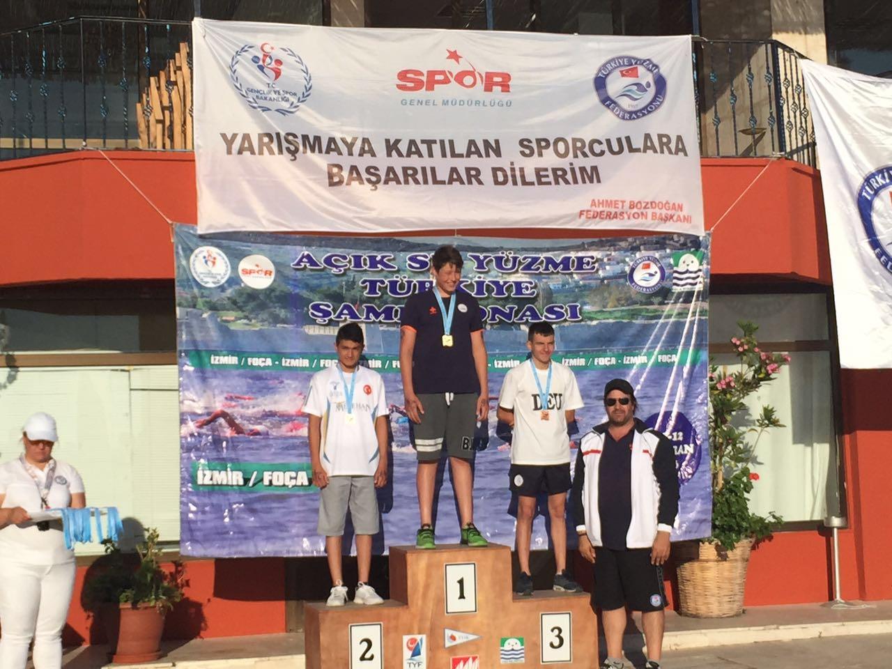 Açık Su Yüzme Türkiye Şampiyonasında Berke Çınar Türkiye Üçüncüsü Oldu