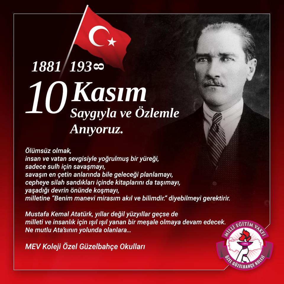 10 Kasım Atatürk'ü Anma Törenine Tüm Velilerimiz Davetlidir