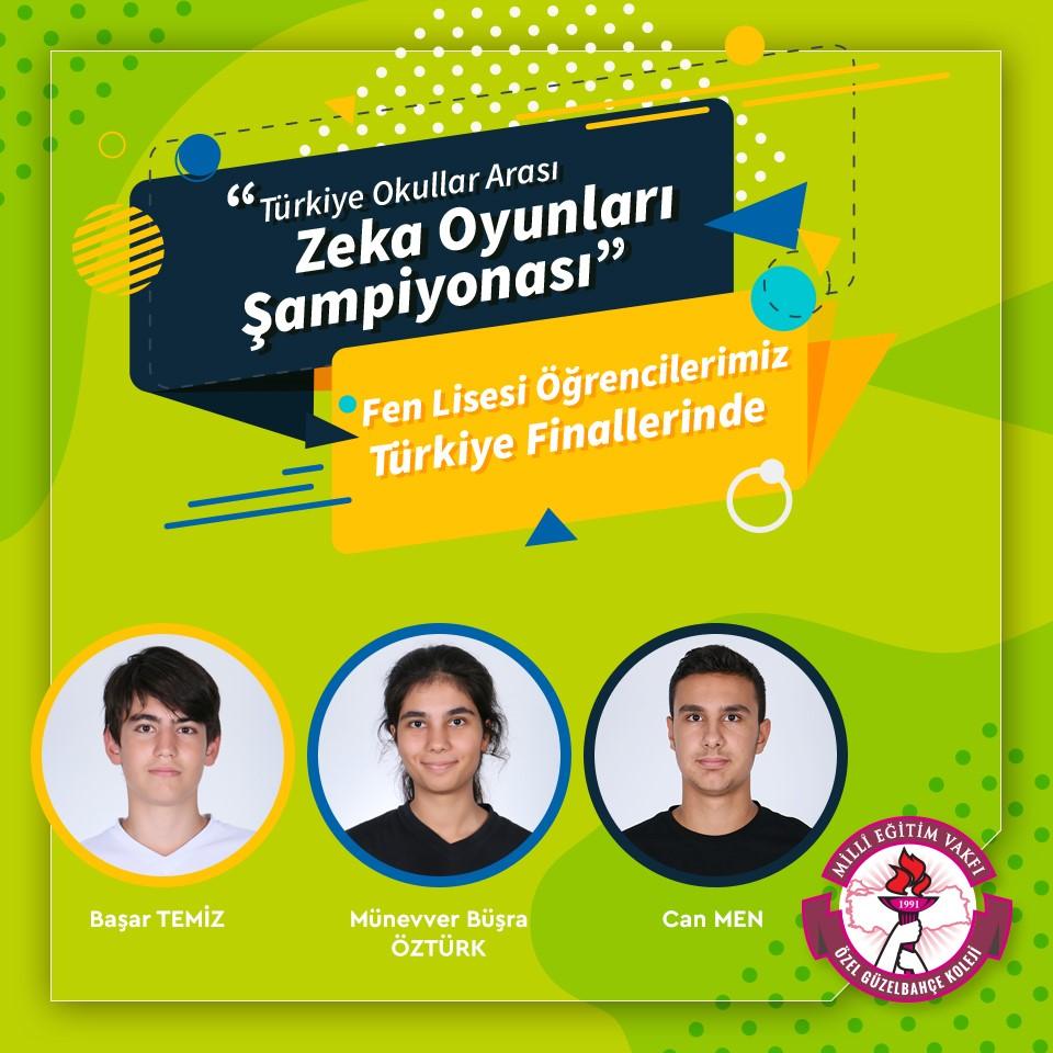 Fen Lisesi Öğrencilerimiz Türkiye Okullar Arası Zeka Şampiyonası Finallerinde