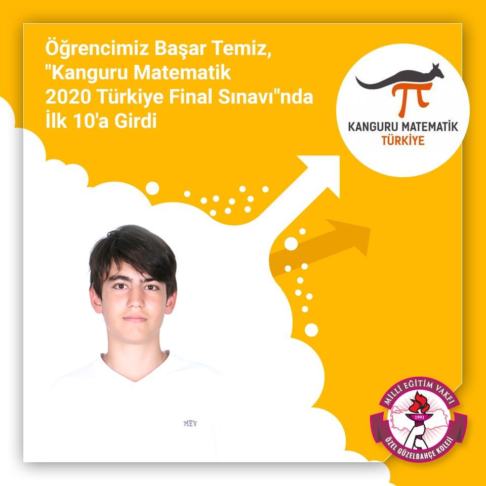 """Öğrencimiz Başar Temiz, """"Kanguru Matematik 2020 Türkiye Final Sınavı""""nda İlk 10'a Girdi"""