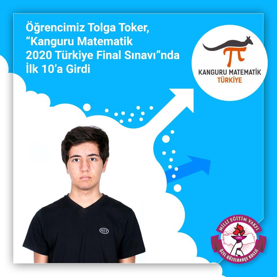 """Öğrencimiz Tolga Toker, """"Kanguru Matematik 2020 Türkiye Final Sınavı""""nda İlk 10'a Girdi"""