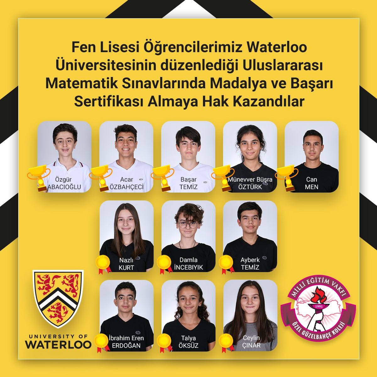 Öğrencilerimiz Waterloo Üniversitesinin Düzenlediği Uluslararası Matematik Sınavlarında Madalya ve Başarı Sertifikası Almaya Hak Kazandılar