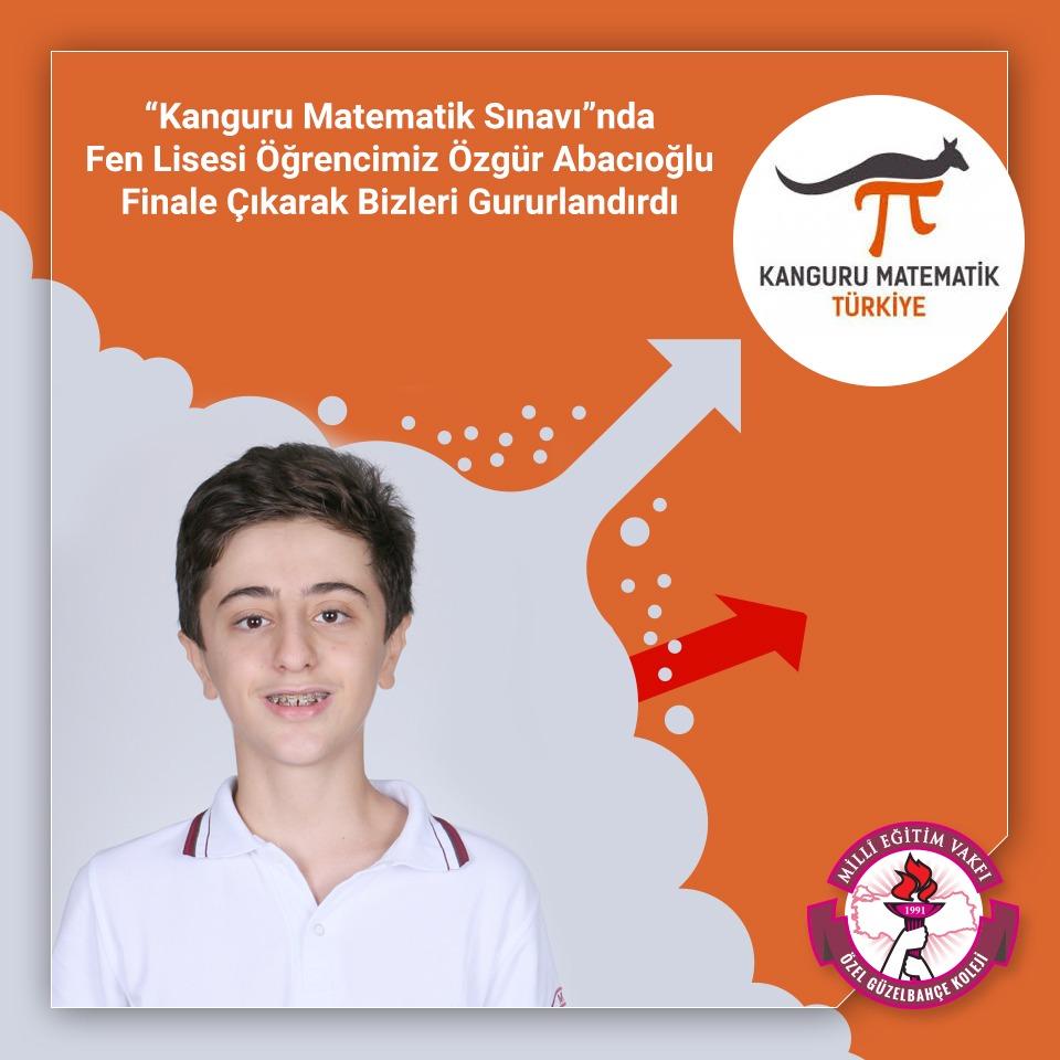 """Öğrencimiz Özgür Abacıoğlu """"Kanguru Matematik Sınavı""""nda Finale Çıkarak Bizleri Gururlandırdı"""