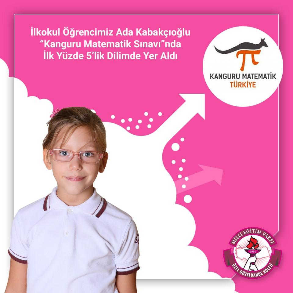 """Öğrencimiz Ada Kabakçıoğlu """"Kanguru Matematik Sınavı""""nda İlk Yüzde 5'lik Dilimde Yer Aldı"""